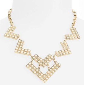 Geometric pearl statement necklace